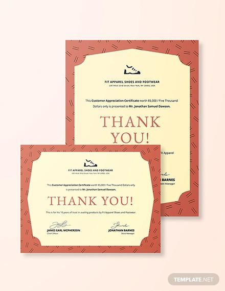 formal customer appreciation