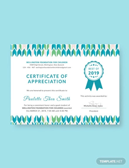 free certificate of appreciation for student