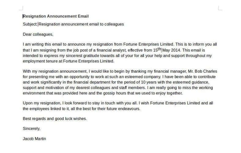 resignation-email-announcement-template