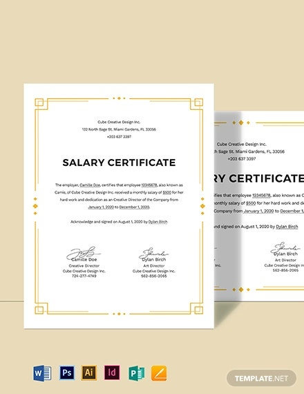 23 Salary Certificate Formats Pdf Word Free Premium Templates