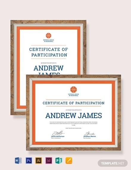Simple Sports Participation Certificate Template