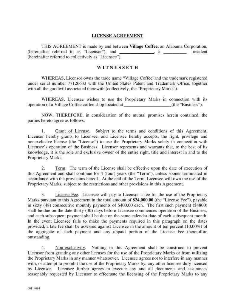 vilage coffee trademark license agreement 1 788x1020