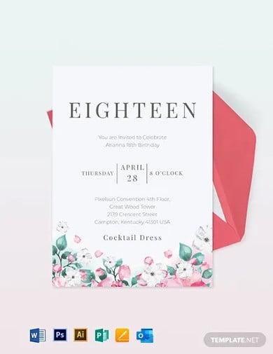 18th birthday invitation card template