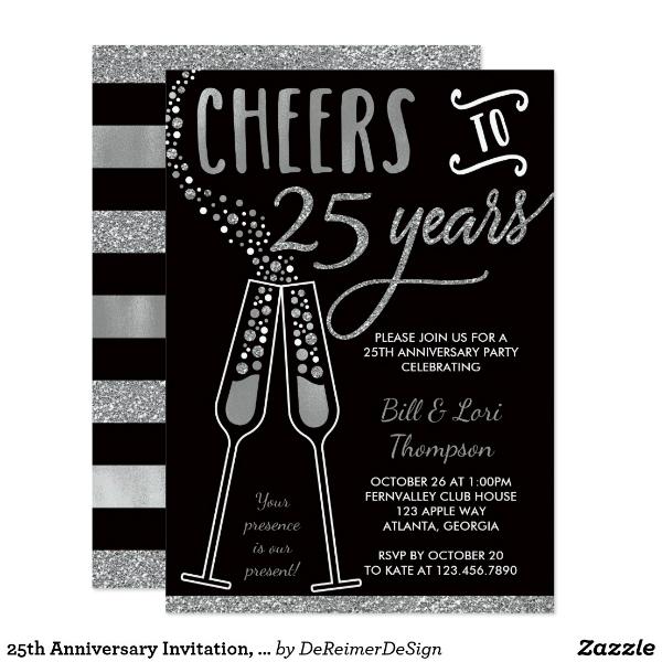 25th-anniversary-invitation-faux-glitterfoil-card