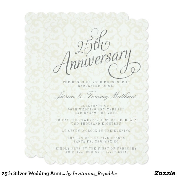 10 Year Wedding Anniversary Invitations: 10+ 25th Anniversary Invitation Card Designs & Templates