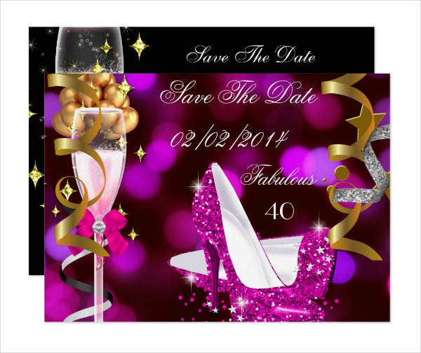 40th birthday party save the date invitation