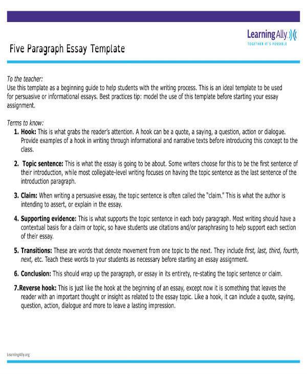 5-Paragraph Essay Template