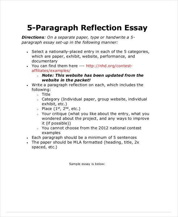 5 paragraph reflection essay