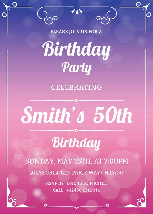 50th Birthday Invitation Template Details File Format Psd Ai Free Download