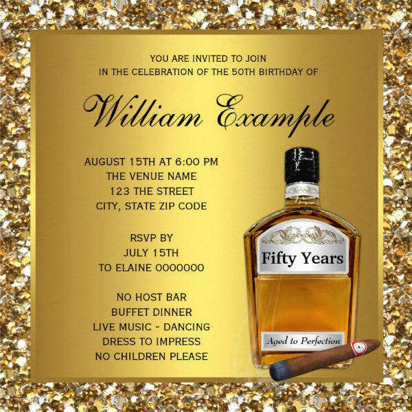 50th Birthday Party Invitation Card Design