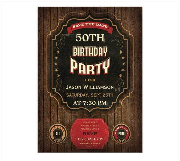 50th Birthday Party Save The Date Invitation