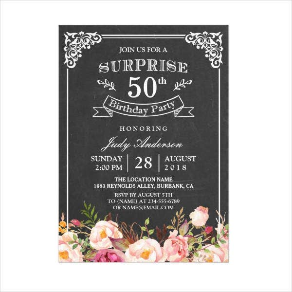 50th Surprice Birthday Card Template