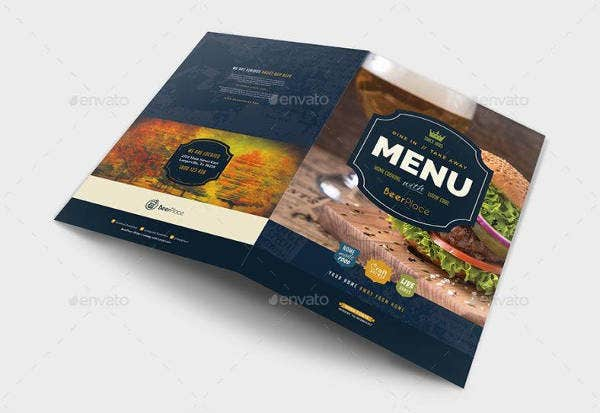 A3 Pub Menu Template