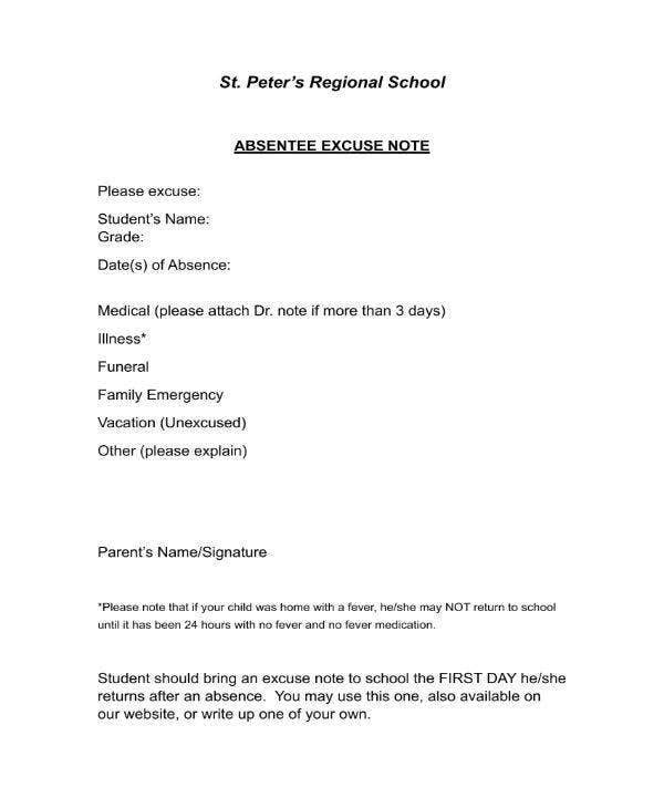 excuse letter for absent student 11 school excuse note templates pdf free amp premium 12690