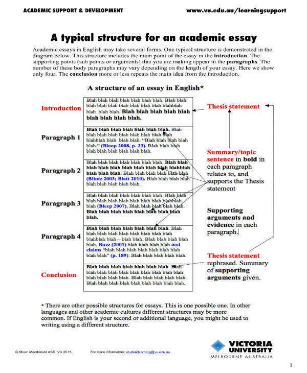 academic essay structure example
