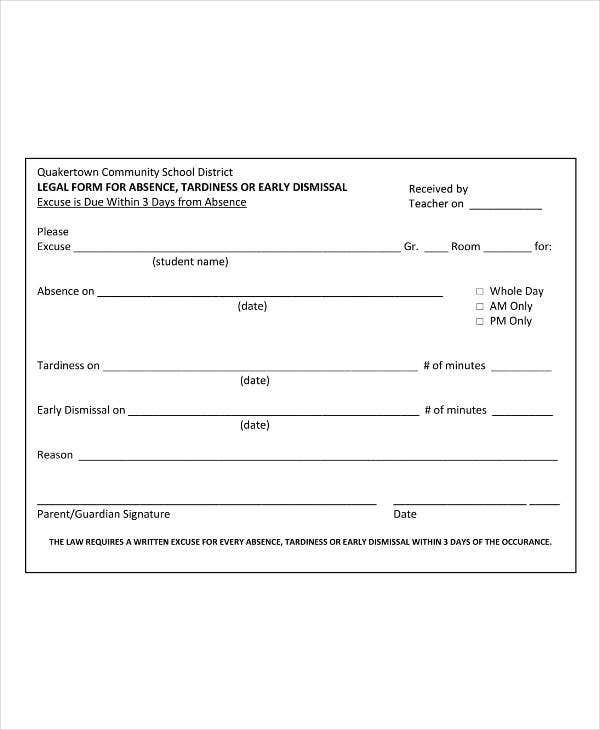 Academic Excuse Slip Template