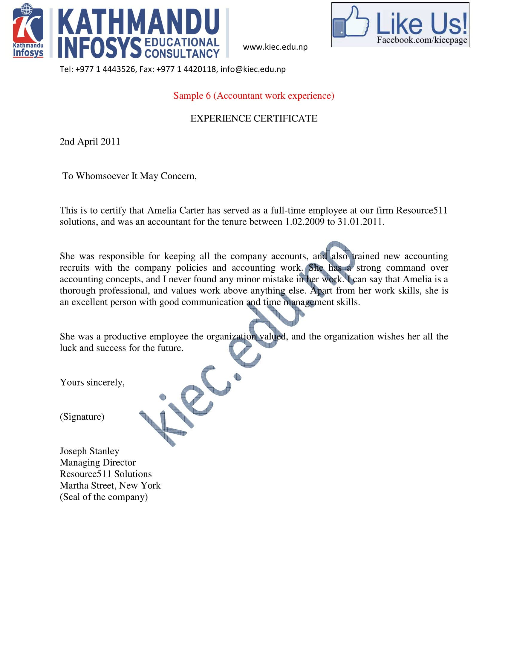 accountant experience letter sample