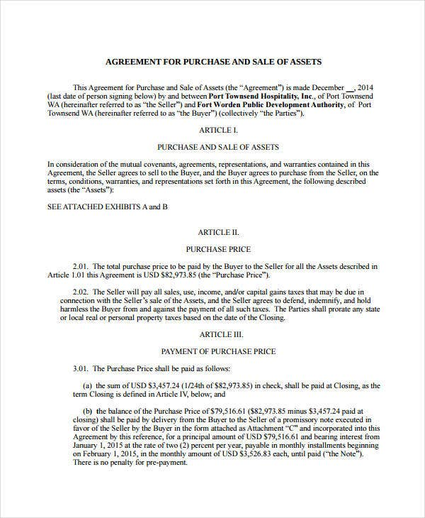 agreement for purchase and sale of business