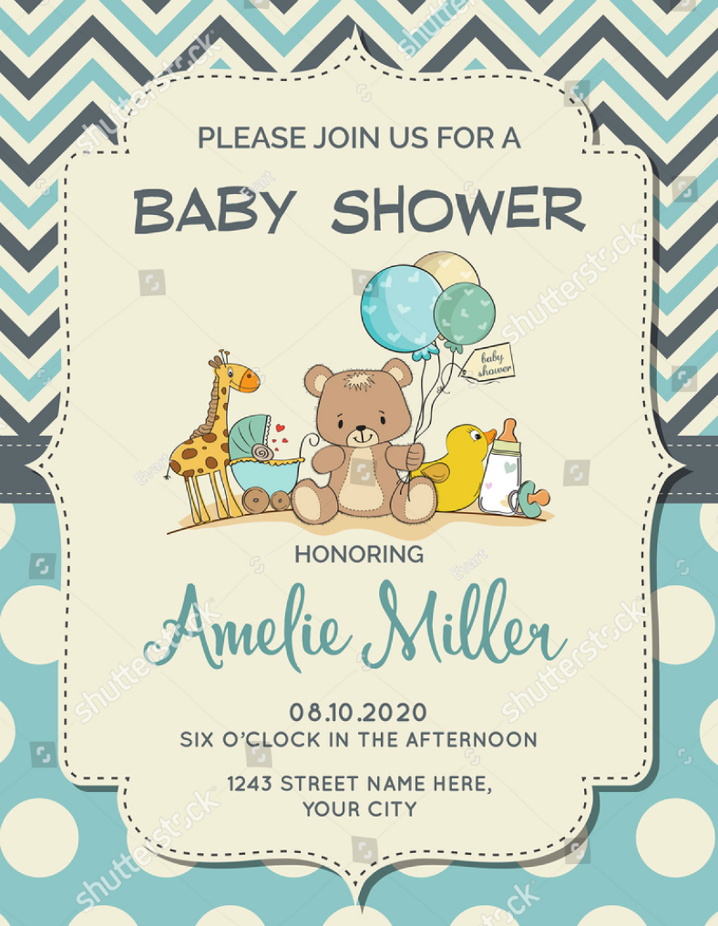 Animal Baby Shower Party Invitation Template