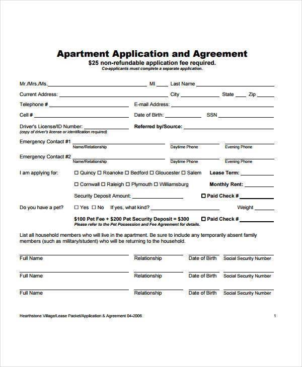 apartment application and agreement