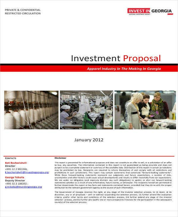apparel sector investment proposal example