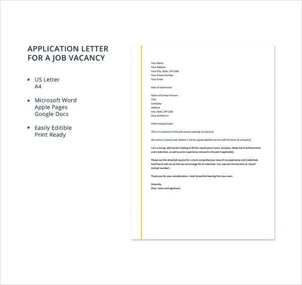 application letter for a job vacancy template