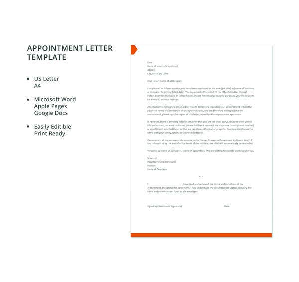 appointment letter template1