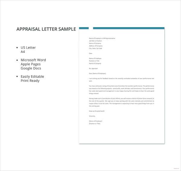 appraisal letter sample