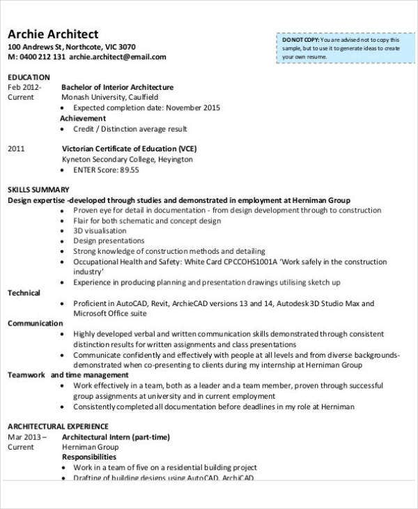11  sample cv u0026 39 s for internship
