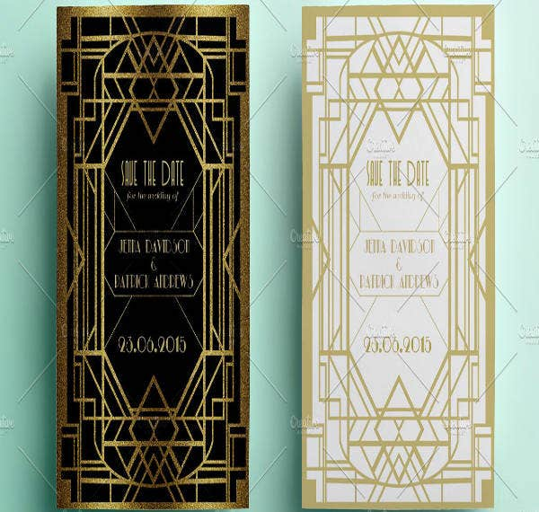 Art Deco Save The Date Invitation Sample