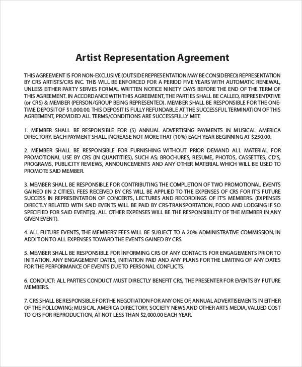 artist representation agreement