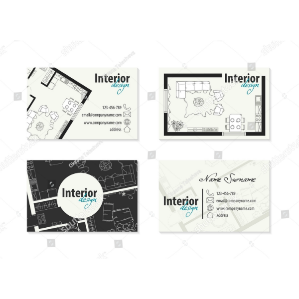 Artistic Interior Design Vector Business Card
