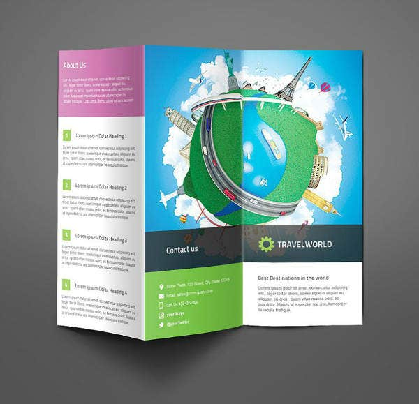 Artistic Travel Trifold Brochure Template