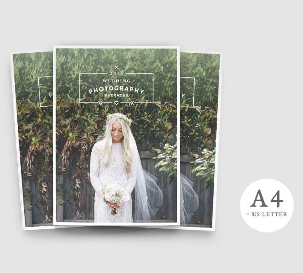 artistic wedding photography brochure example
