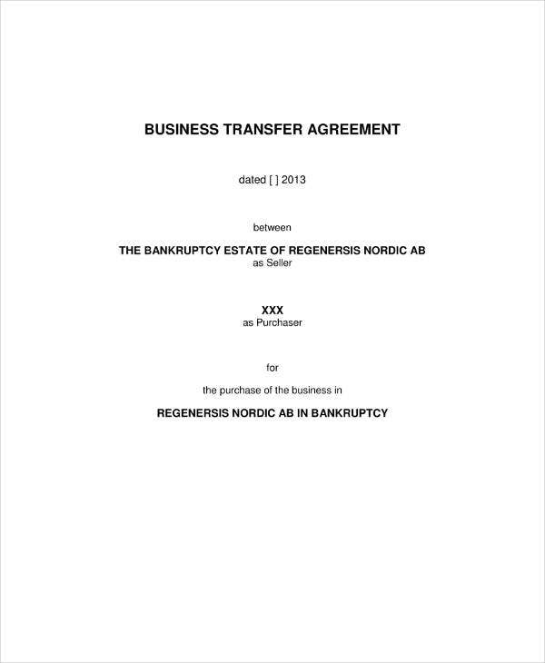 Asset Transfer Agreement Example For Businesses