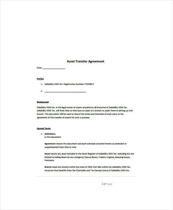 Asset Transfer Agreement Template