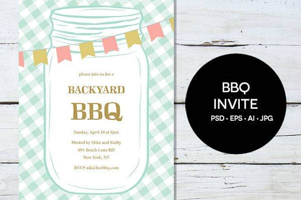 BBQ Party Save The Date Invitation Card