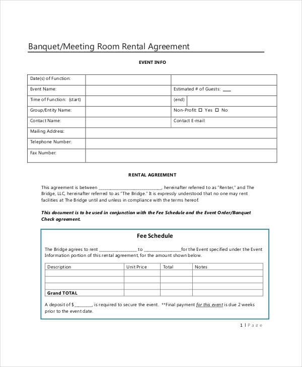 banquet meeting room rental agreement