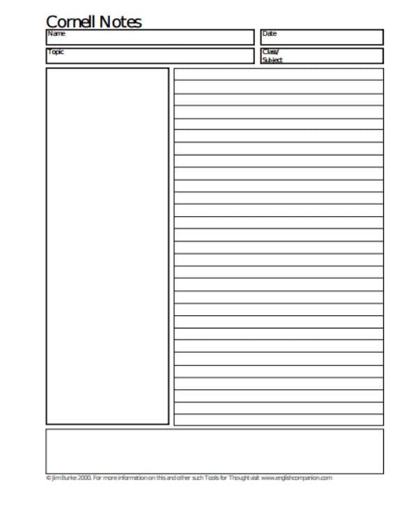 basic cornell note sheet sample format