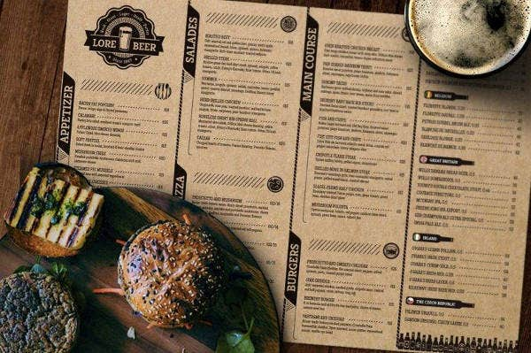 Beer Pub Menu Layout Sample