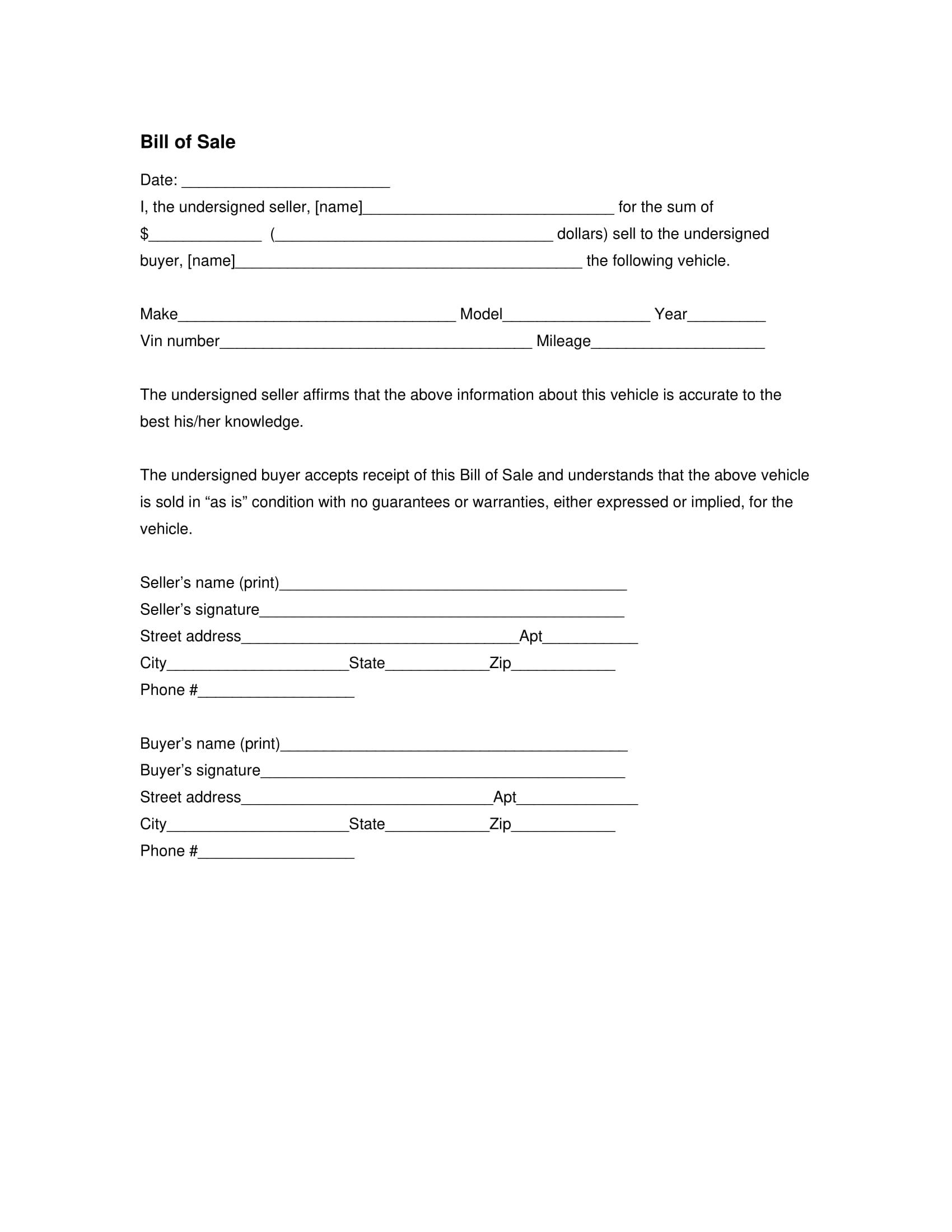 bill of sale generic template