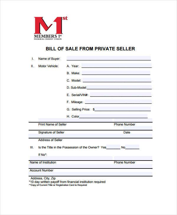 bill of sale for private seller