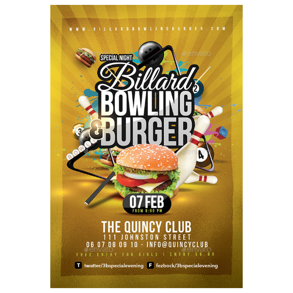 billiard bowling party flyer invitation template