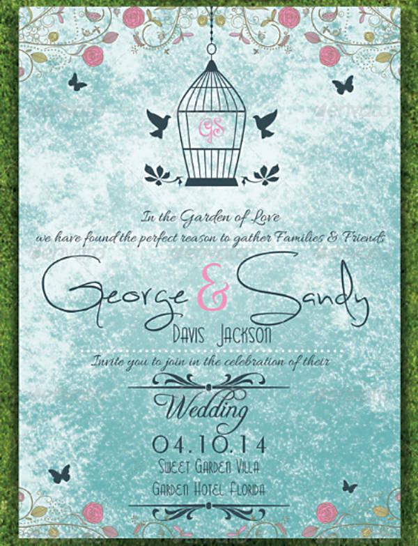 Bird Cage Garden Wedding Invitation Template