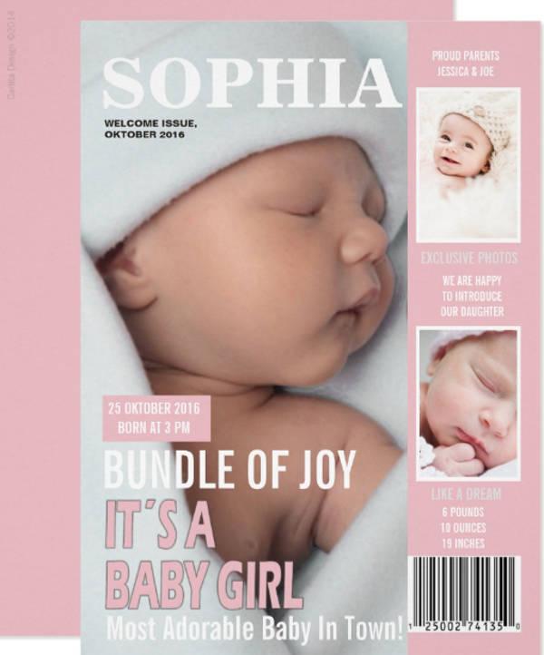 birth announcement magazine cover