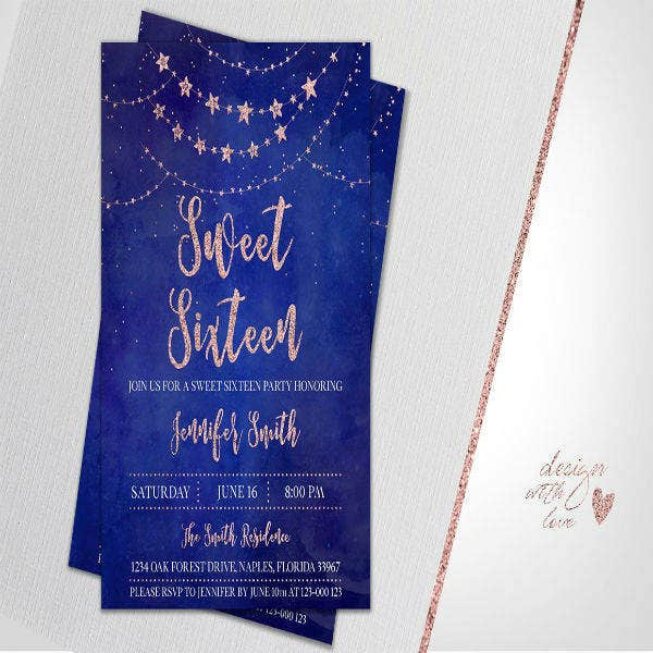 Birthday Invitation for Sweet Sixteen
