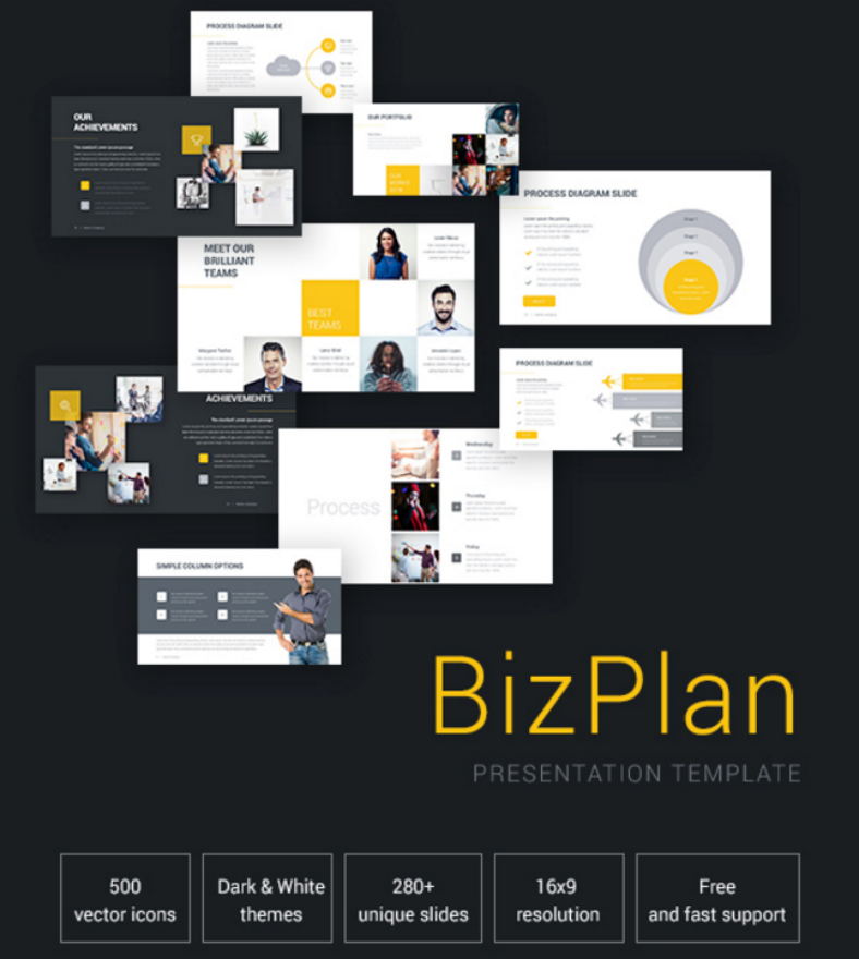 bizplan business plan powerpoint template 788x880