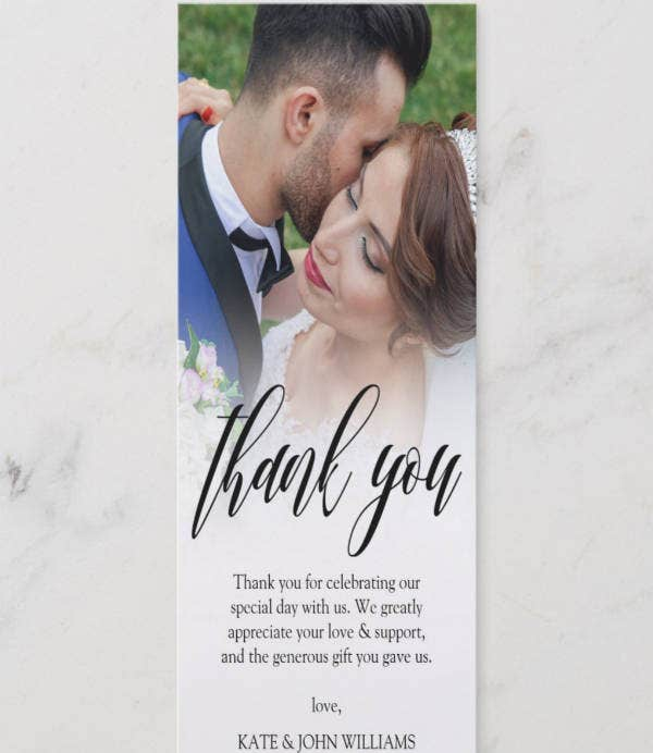 Black Wedding Photo Thank You Card