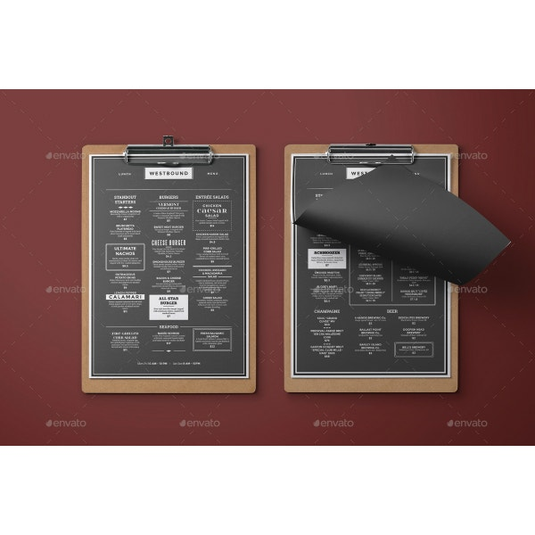 black and white fancy menu template