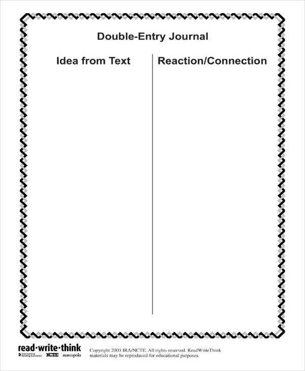 Blank Double Entry Journal Template